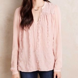Anthro Tiny Blush Pink Embroidered Split Neck Top
